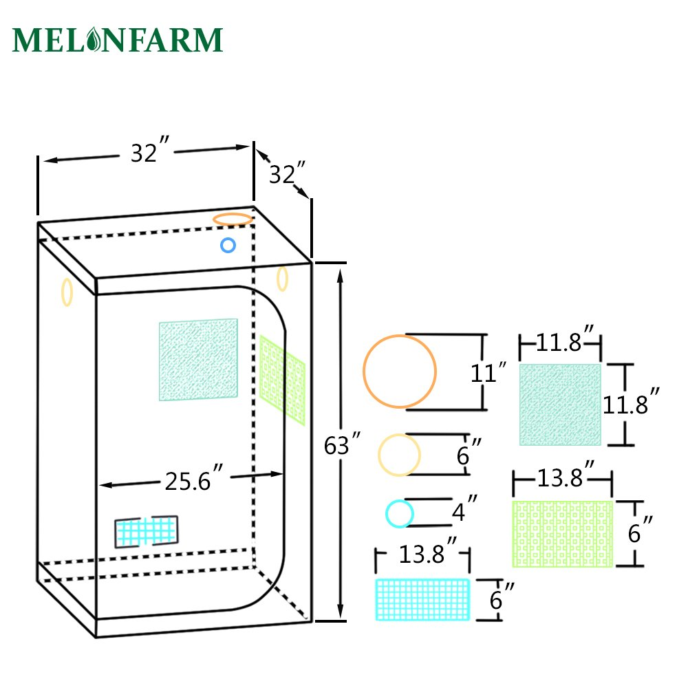 Melonfarm 32x32x63 Reflective 600d Mylar Waterproof 98 American Lafrance Wiring Diagram Hydroponic Grow Tent Removable Floor Tray Indoor Seedling Plant Growing Garden