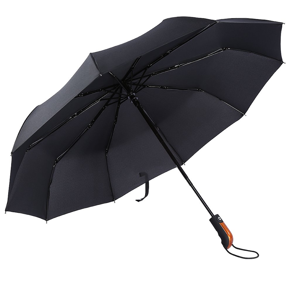 EECOO Windproof Travel Umbrella 10 Ribs Unbreakable Auto Open Close Waterproof Stormproof Canopy Rustproof Automatic Folding Compact Portable Rain Umbrellas for Men and Women (Black)