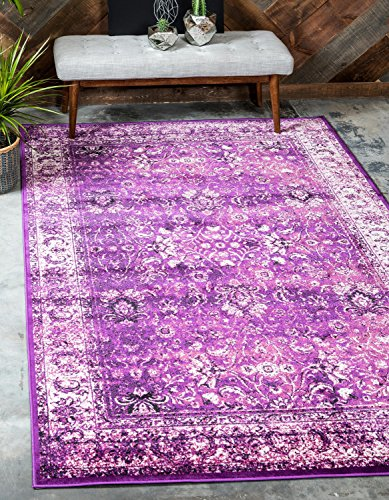 8' Lilac Area Rug - Unique Loom Imperial Collection Modern Traditional Vintage Distressed Lilac Area Rug (5' x 8')