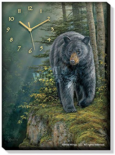 Rocky Outcrop - Black Bear Canvas Clock by Rosemary Millette -