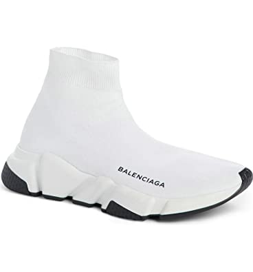 c12658bdac2 Unisex Mens Womens Balenciaga Speed Trainer Sneaker White Black  Amazon.co. uk  Shoes   Bags