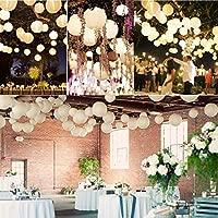 Paquete de 10 farolillos de papel redondos de 15 cm, color blanco, para cumpleaños, baby shower, bodas, fiestas, jardín, decoración del hogar, 15 cm