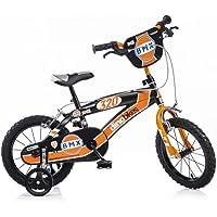 Dino Bikes BMX145XC 14 Pouce KIDSBIKE Boy vélo, Bicyclette, Enfant-Velo, bécane, vélocipède, Rouler en vélo, Faire du vélo.Noir.stabilisateurs 14pouce 3-6 Ans 100-120cm