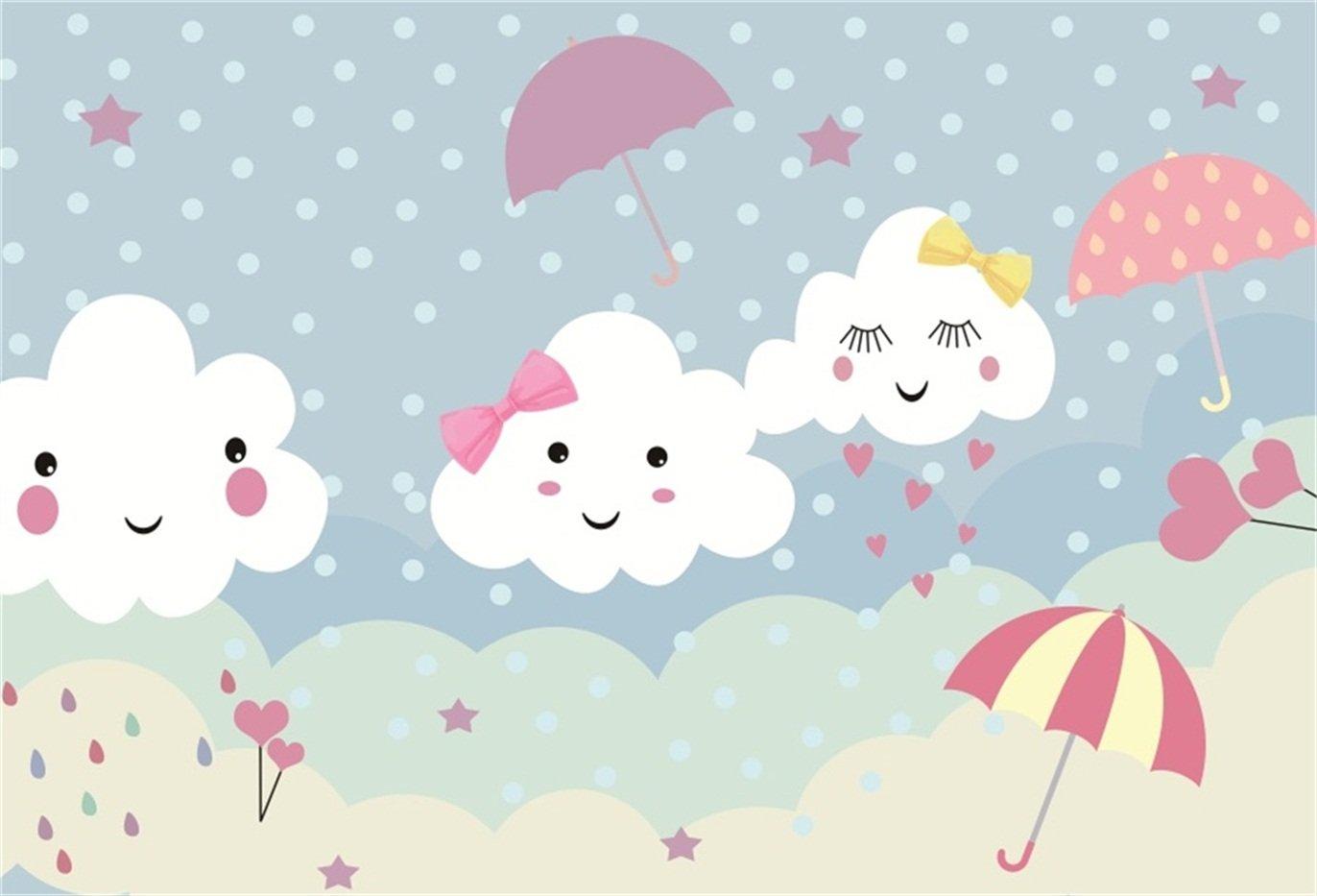 csfoto 7 x 5ft Smiling Sleeping Shyness Clouds背景漫画かわいい傘雪写真バックドロップベビーシャワーStudio propskid幼児新生児ベビーArtistic Portrait壁紙   B07F5K91Y4