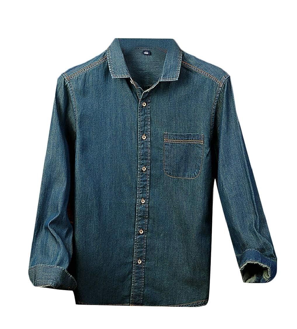 Gocgt Mens Casual Denim Slim Fit Top Long-Sleeve Basic Shirt