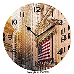SCOCICI Print Round Wall Clock, 10 Inch Famous Wall Street Building New York Stock Exchange with Flags Urban Quiet Desk Clock for Home,Office,School
