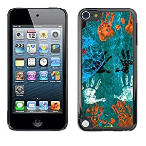 MOBMART Carcasa Funda Case Cover Armor Shell PARA Apple iPod Touch 5 - Hand Prints In Different Colors