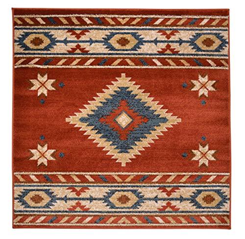 Nevita Collection Southwestern Native American Design Area Rug Rugs Geometric (Orange (Terra), 3 x 3) (Geometric Designs Native American)