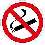 10 Stück Aufkleber, Durchmesser 5 cm Rauchen verboten, selbstklebend, kratz und Wetterfest