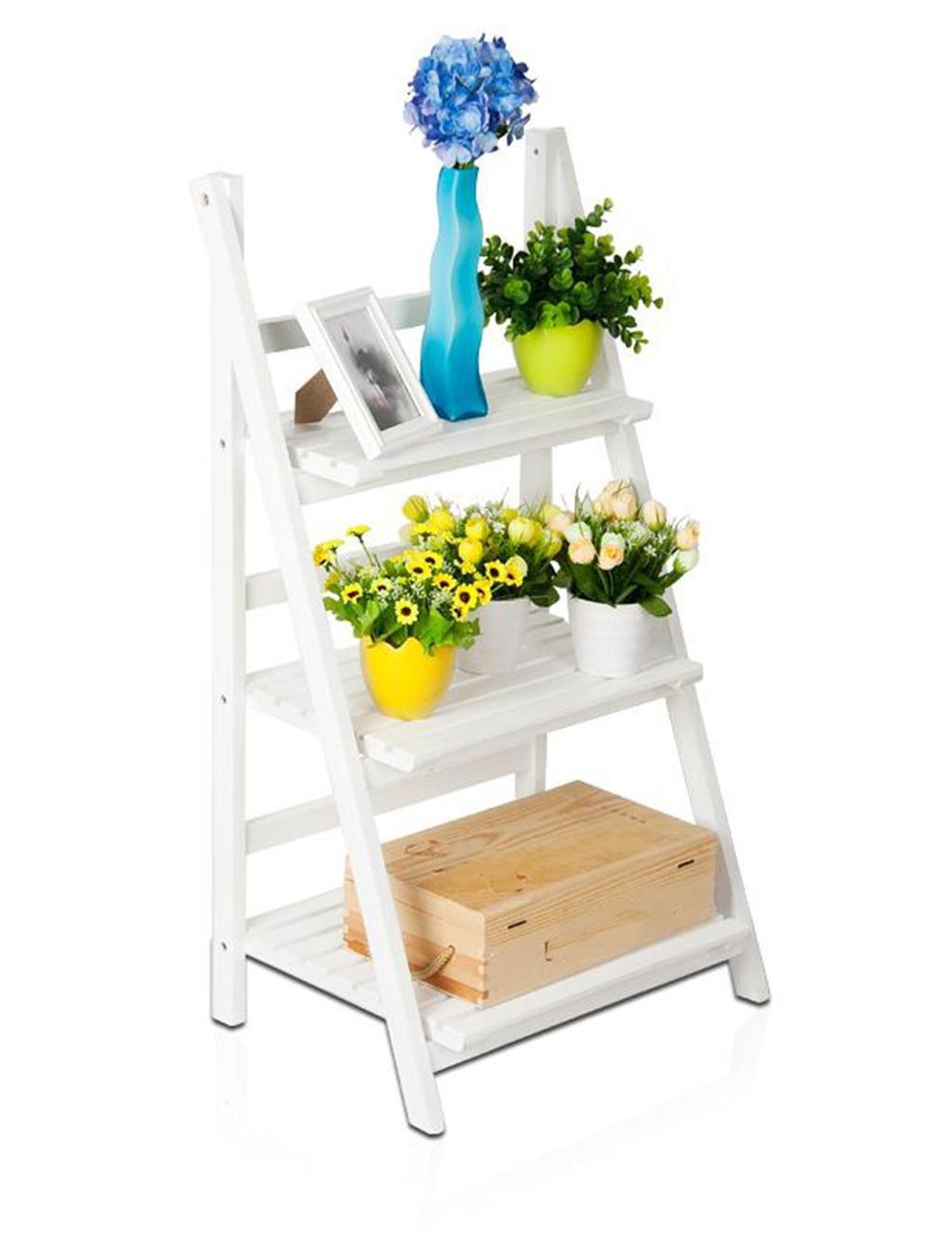 Dreistöckiger Massivholzboden-Blumen-Topf-Regal, Palnt Stand, Blumenregal, Faltregal, Weiß
