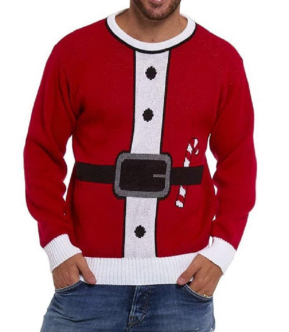 Comaba Mens Chirstmas Leisure Round Neck Pullover Relaxed-Fit Pullover Sweater