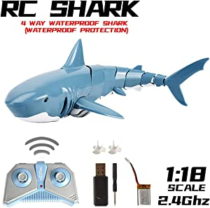 MOSTOP Shark RC Boat, Simulation Remote Control Shark, 2.4GHz Remote Control Boat RC Shark Toy Fiexibly Electric Racing Shark for Swimming Pool Bathroom Toy Gifts for Adults Kids