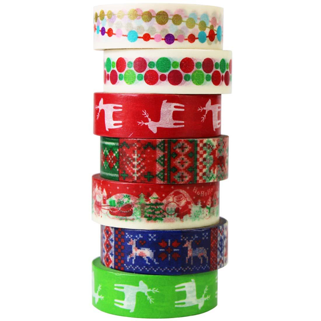 6 Rotoli Washi Tape Natale Christmas Decorativo Nastri Adesivi UOOOM