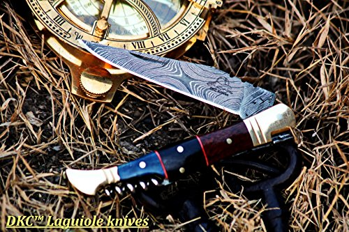 (18 5/18) SALE DKC-55 BLUE SQUIRE (Brass Bolster) Damascus Steel Pocket Folding Laguiole Style Pocket Knife 4.5 Folded 8 Long 2.5oz oz High Class Looks Incredible Hand Made DKC Knives