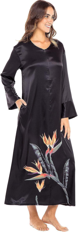 1920s Nightgowns, Pajamas and Robes History Alexander Del Rossa Womens Long Satin Caftan Sleep Shirt  AT vintagedancer.com