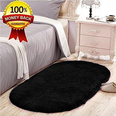 SANMU Soft Velvet Silk Rugs Simple Style Modern oval Shaggy Carpet Fashion Bedroom Mat for Dining Room, Living Room Pink Rugs for Girls Room Home Decor 2.6' X 5.3'