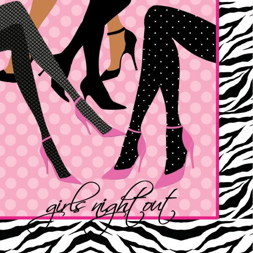 Creative Converting Girls Night Out 16 Count 3-Ply Paper Beverage Napkins, Sassy and Sweet