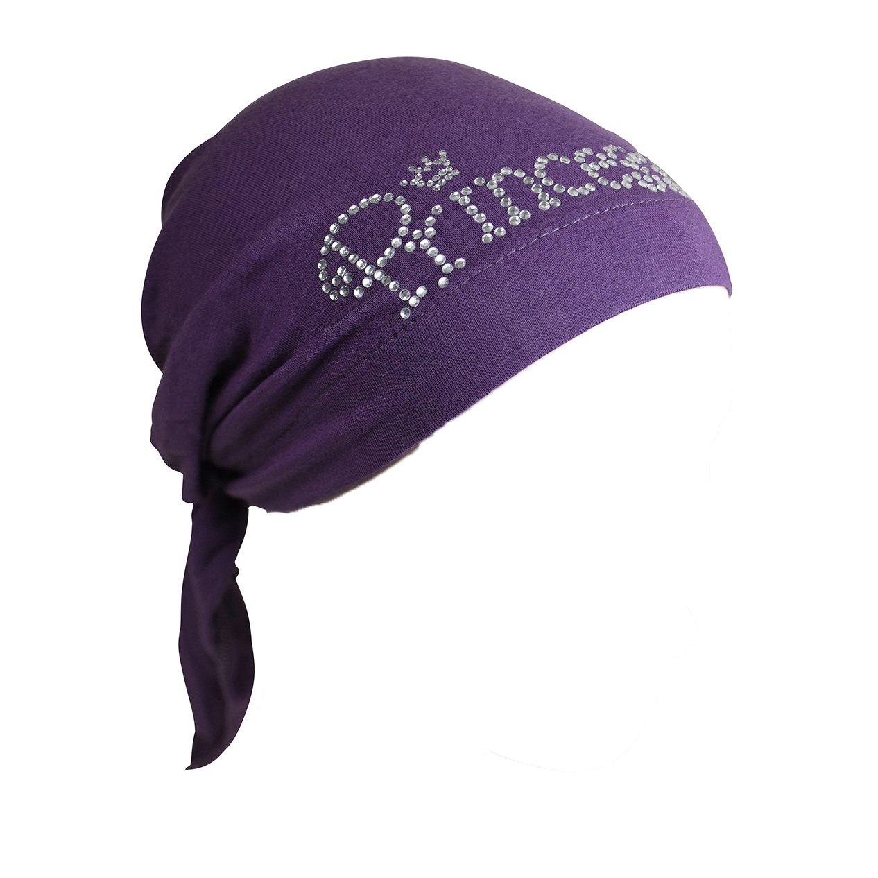 Princess Applique on Child's Pretied Head Scarf Cancer Cap Purple by Landana Headscarves (Image #1)