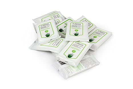 pürdoux 100% algodón máscara CPAP toallitas con Aloe Vera (caja de total 120 toallitas húmedas en 12 resellable sobres, 10 toallitas por bolsita): ...