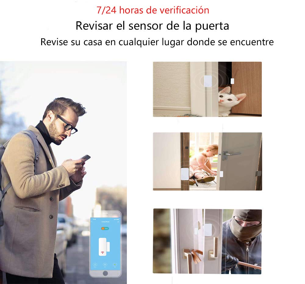 Sensor de Puerta Inteligente Antirrobo de Control por APP y Conexi/ón WiFI Aktivstar Alarma para Puerta Inteligente Detector para Puertas y Ventanas Caja Caj/ón Compatible con Alexa Google Home