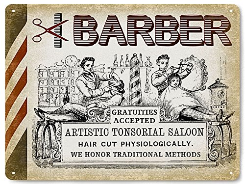 Barber Shop metal sign wall vintage antique style decor Hair Stylist art 11 ()