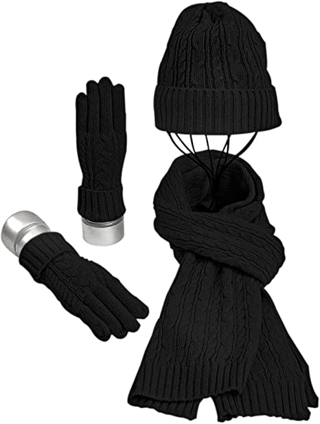 Warmiehomy Hat Gloves Scarf Set for Women Ladies Girls Soft Warm Knitted Beanie Cap Long Scarf 3 in 1 Winter Thick Set for Outdoors Walking Shopping Skiing Fishing Cmping