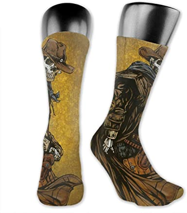 Amazon.com: Men's Cool Crazy Crew Tube Socks, Day Of The Dead Day Of The  Dead Hat Western Cowboy Skulls Soft 80s Retro Seamless Elastic Stocking For  Running Holiday Gift: Clothing