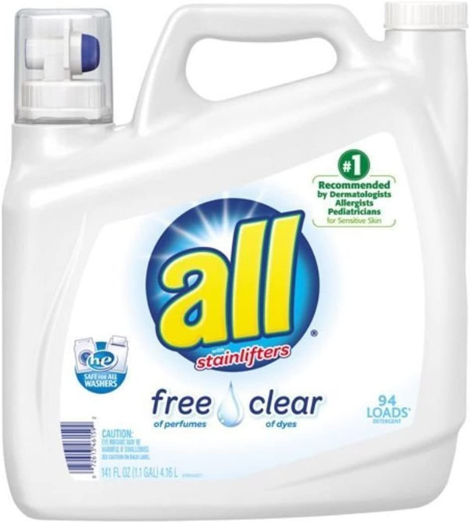 All w/ Stainlifters Free of Perfumes Clear of Dyes Laundry Detergent 141 Fl. Oz.