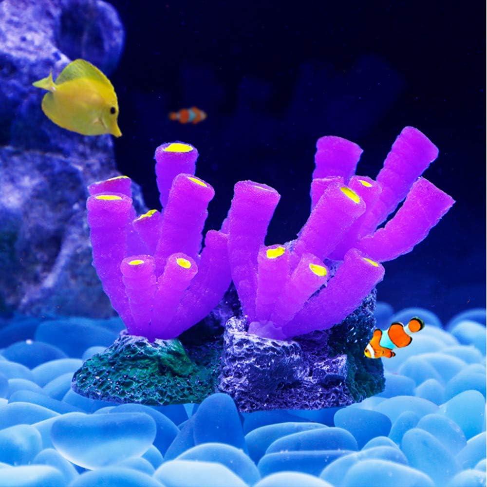 "Danmu 1Pc of Polyresin and Silicone Coral Ornaments, Aquarium Coral Decor for Fish Tank Aquarium Decoration 5 1/10"" x 2 7/10"" x 3 1/10"""
