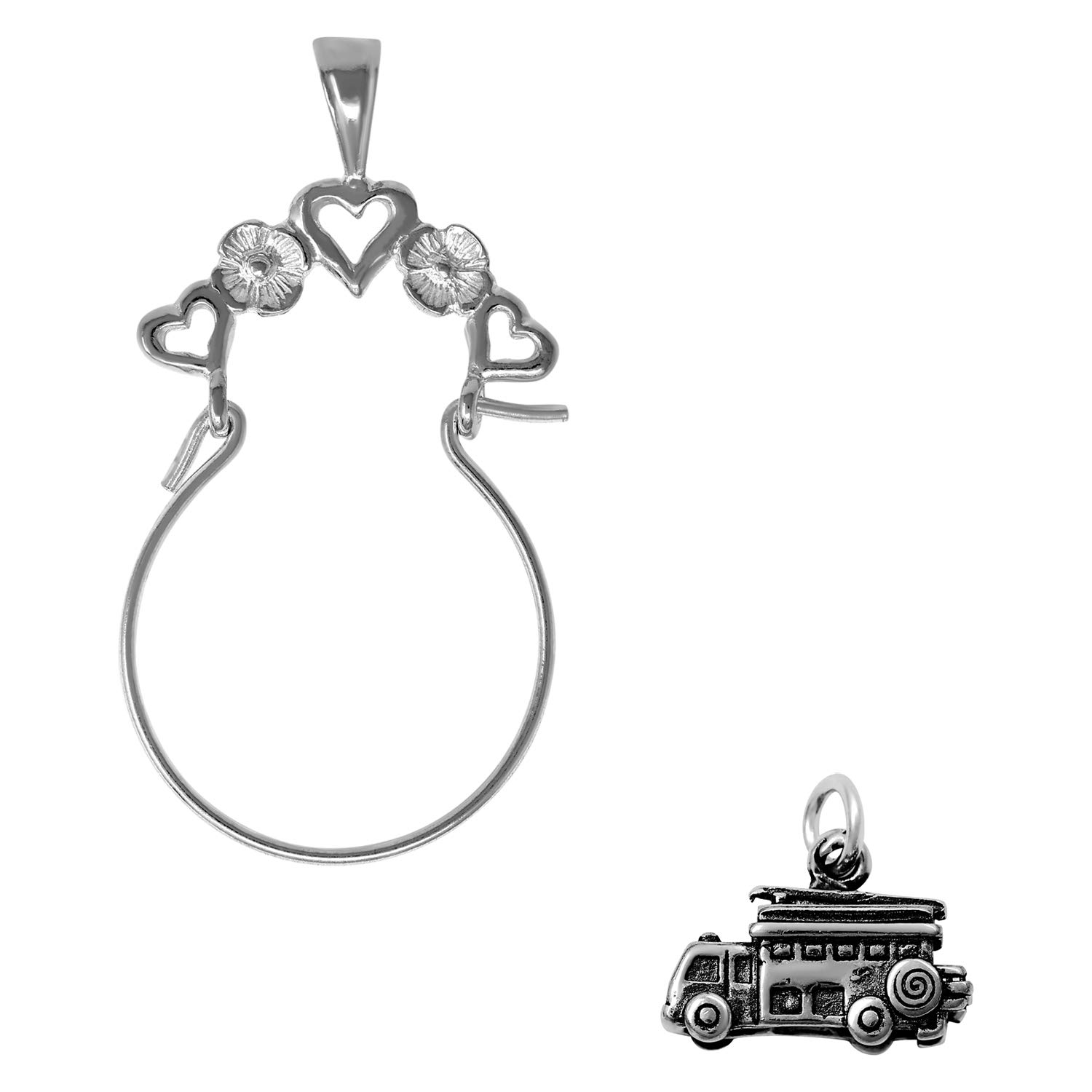 Raposa Elegance Sterling Silver 3D Fire Truck Charm on Optional Charm Holder
