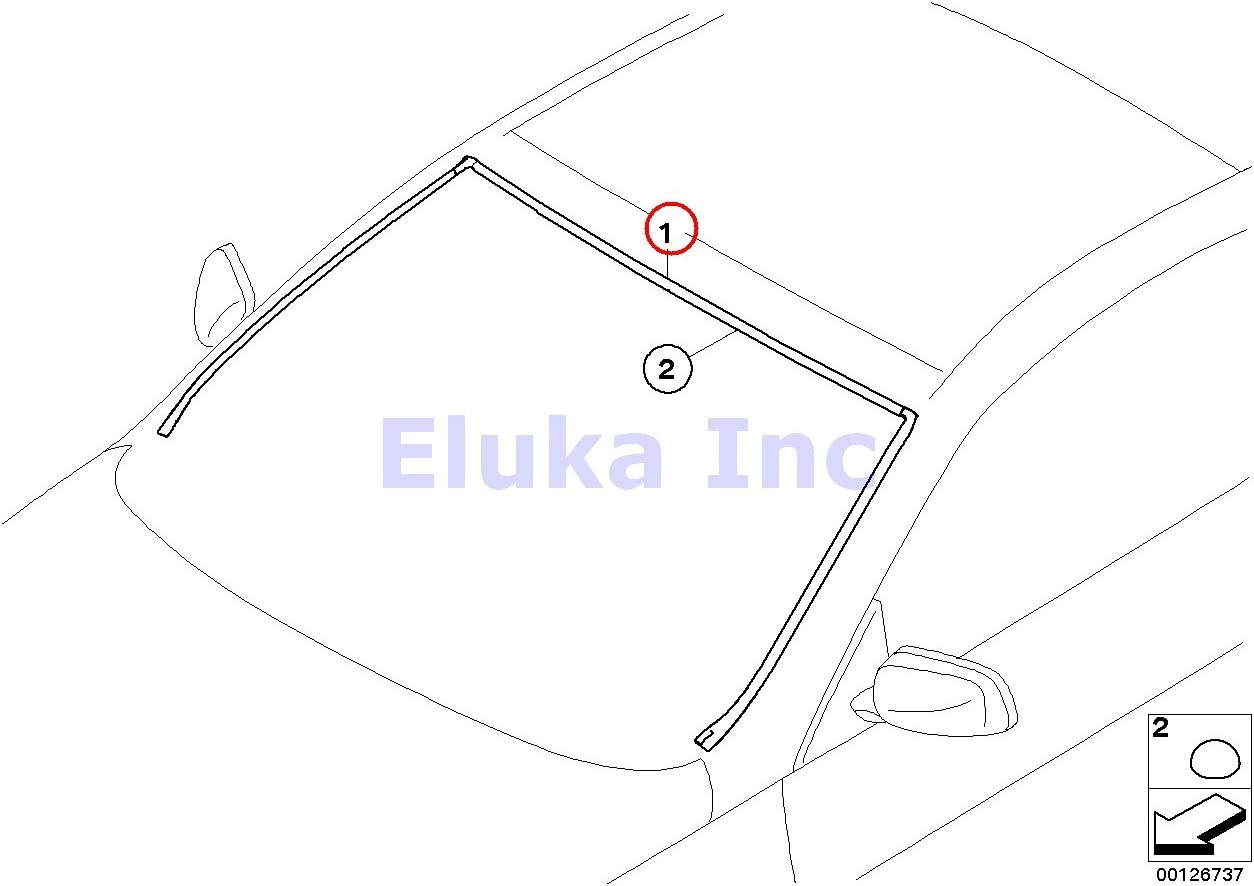 BMW OEM 06-10 650i Windshield-Reveal Surround Molding Trim 51317008911