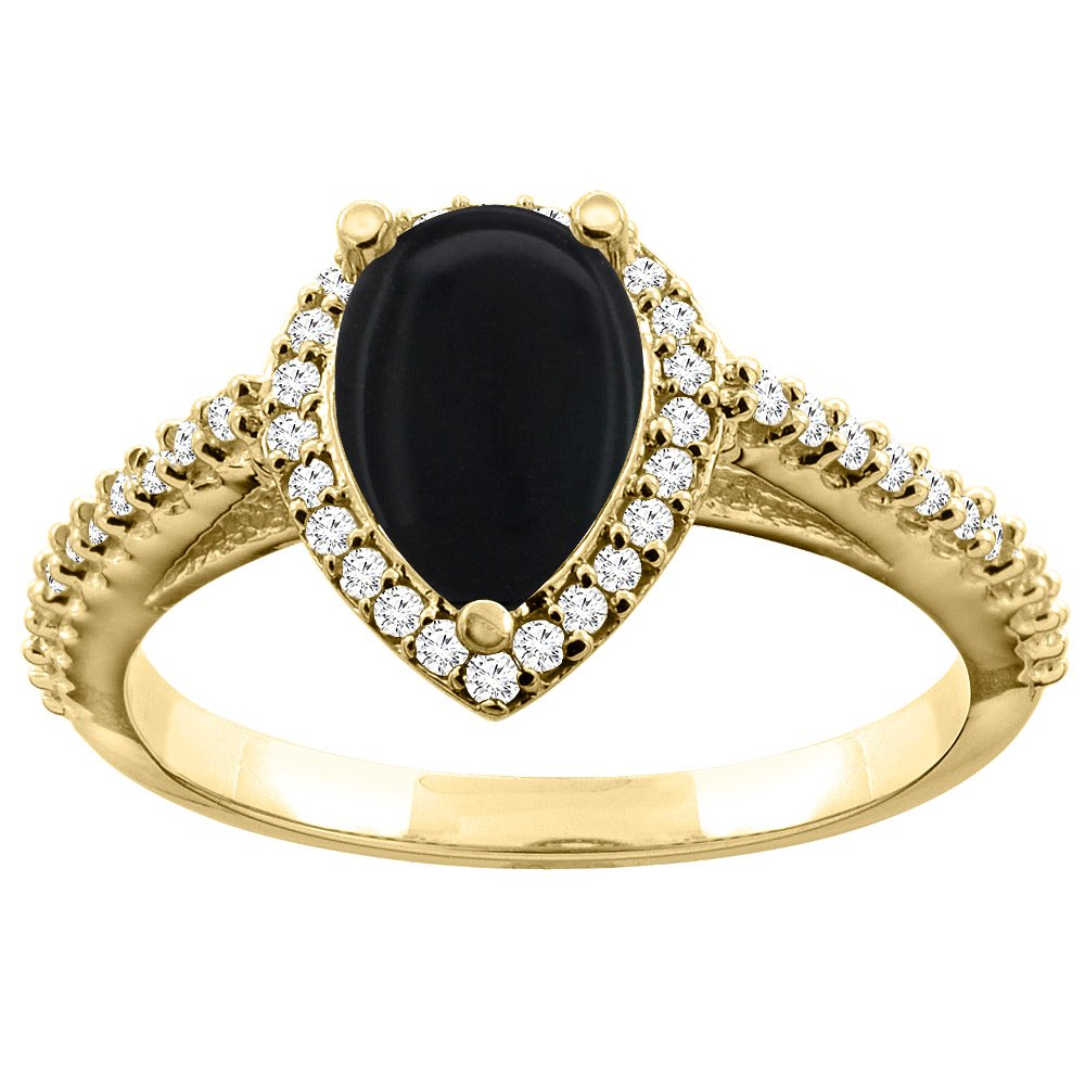 10K Yellow Gold Natural Black Onyx Ring Pear 9x7mm Diamond Accents, size 6.5