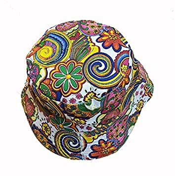 71688fc72ac Cool colourful psychedelic paisley bucket hat white  Amazon.co.uk  Garden    Outdoors
