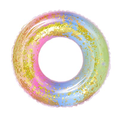 BESPORTBLE Inflatable Swimming Ring Transparent Pool Float Water Float Rainbow Swim Ring Inflatable Tube for Summer Party Pool: Toys & Games