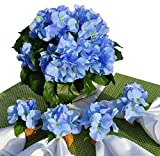 Hospitality Florals ''Beauty in Blue'' Hydrangea Patio Tablescape Centerpiece with 4 Matching Mango Wood Napkin Rings