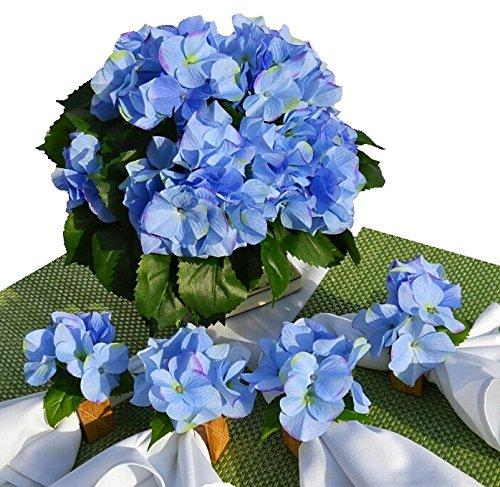 Hospitalidad Florals 'belleza en azul' Hortensia Patio mesa de comedor centro de mesa con 4madera de mango A Juego Anillos...