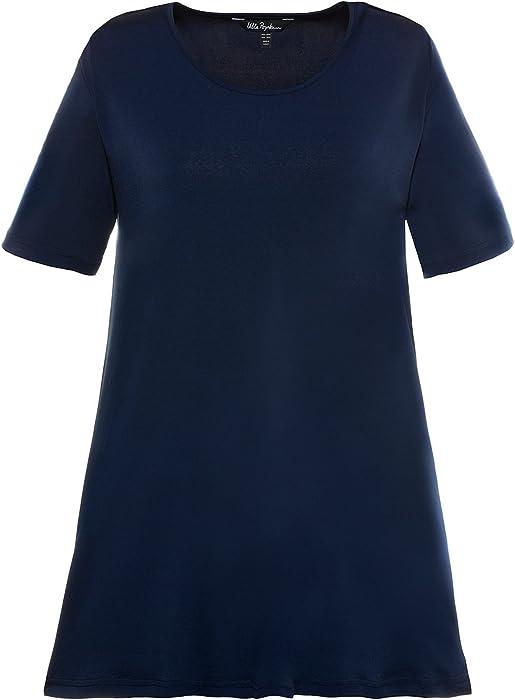 28ed5b69e62 Ulla Popken Women s Plus Size Matte Jersey Swing Tunic Navy 12 14 714112 75  at Amazon Women s Clothing store