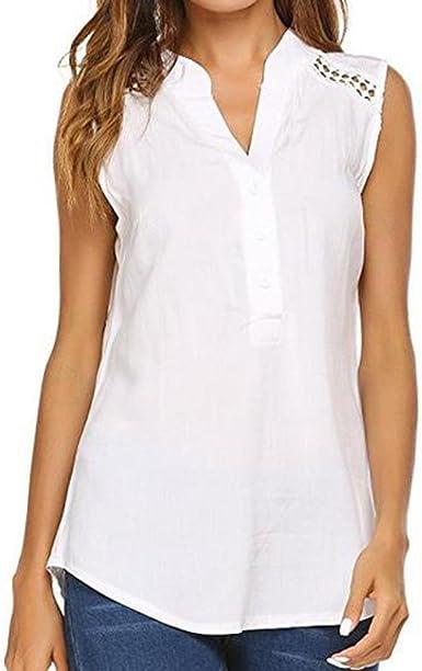 Lenfesh Blusas sin Mangas agodón Verano para Mujer Cuello en V Camisas con Botones Elegante Chaleco Camiseta básica Suelta Mujer (M, Blanco): Amazon.es: Ropa y accesorios