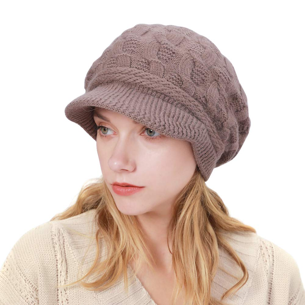 ToVii Womens Winter Hat Beanie Hat with Brim Knitted Newsboy Cap Cable Knit Slouchy Hat Khaki