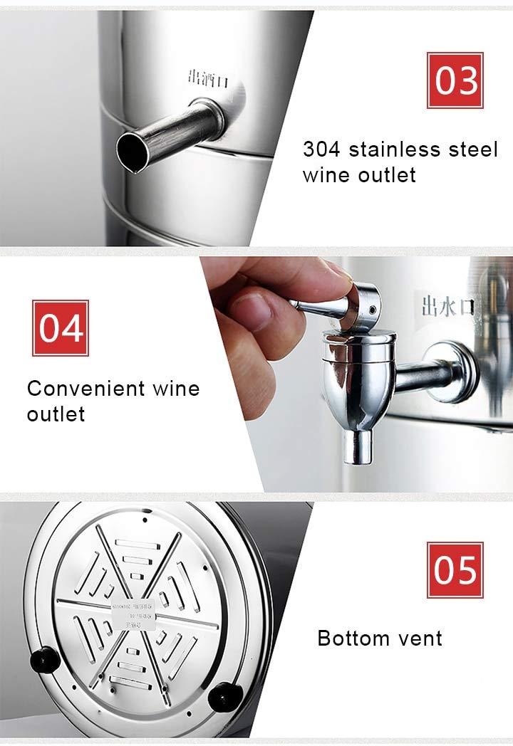 YUEWO 5-15L Multi-Function Alcohol Distiller + Fermenter DIY Home 220V Moonshine Ethanol Wine Maker Copper Stainless Steel B by YUEWO (Image #1)