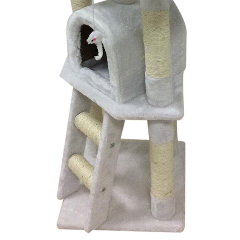 Gris Cat Tree Play Tours 4.3ft Centre dactivit/é pour animaux de compagnie Scratching Post Chatons Lounger Lit de couchage Maison Chats Int/érieur Climber Jouet 130cm De Hauteur