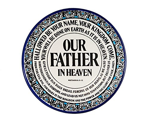 Plate Prayer Lords (Lord's Prayer Plate - Handmade and Hand Painted Ceramic Plate Crafted by Hebron Artisans - Matthew 6:9:13 (8.5