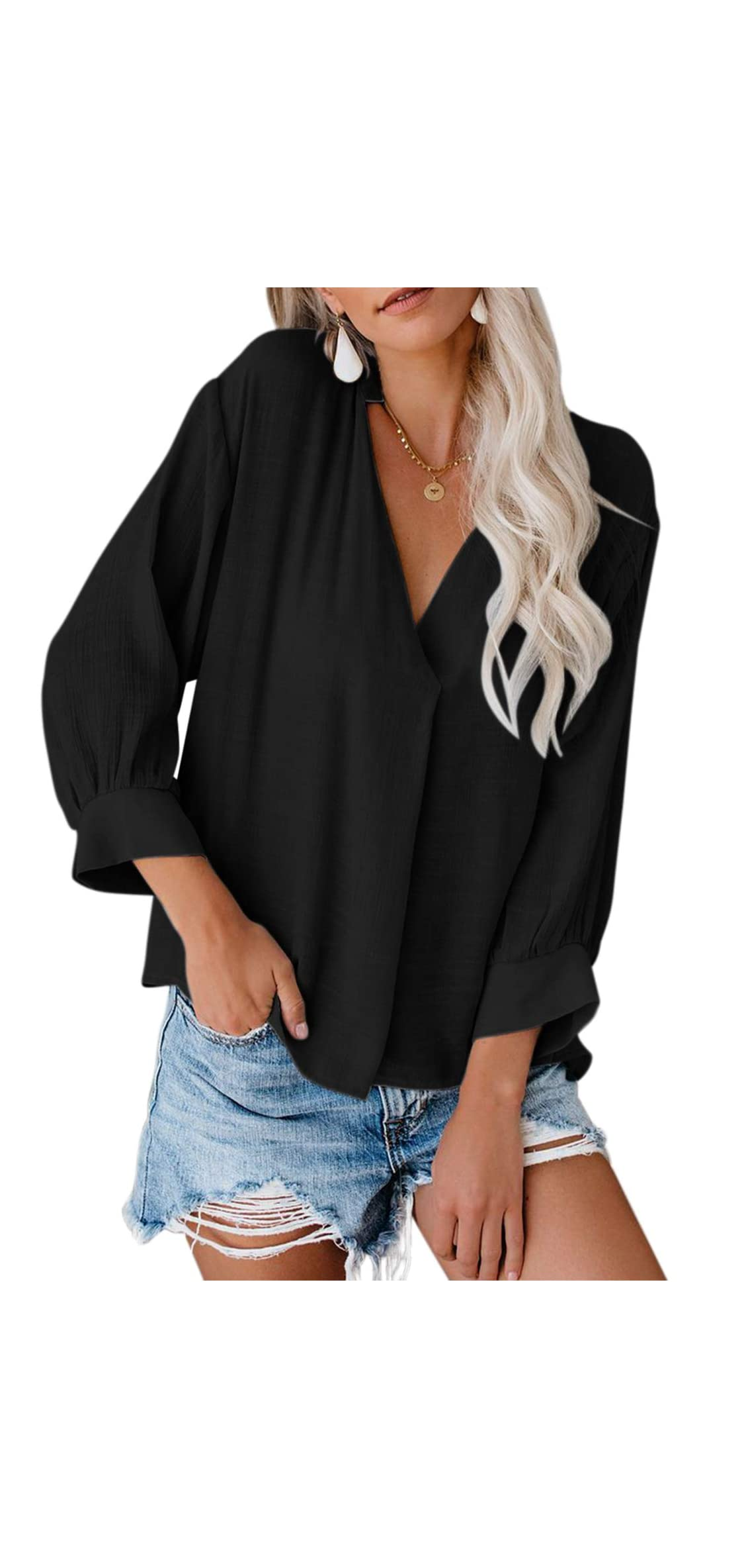 Womens   Bell Sleeve V Neck Chiffon Tops Casual Solid