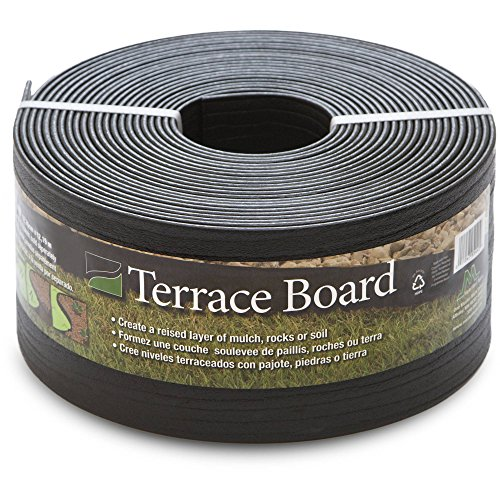 Master Mark Plastics Black Terrace Board Garden Landscape Edging Coil, 5-Inch By 40 Foot with 10-Piece Yard Landscape Stakes by Master Mark Plastics