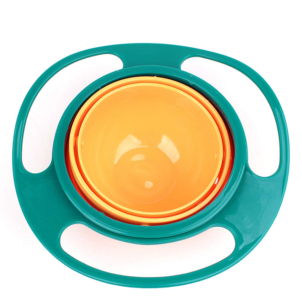 Pixco Baby No Spill Gyro Bowl Feeding Bowls-Lunch Box Gyroscope 360 Degree Rotate Avoid Food Spilling Snacks Bowl with Lid (Green)
