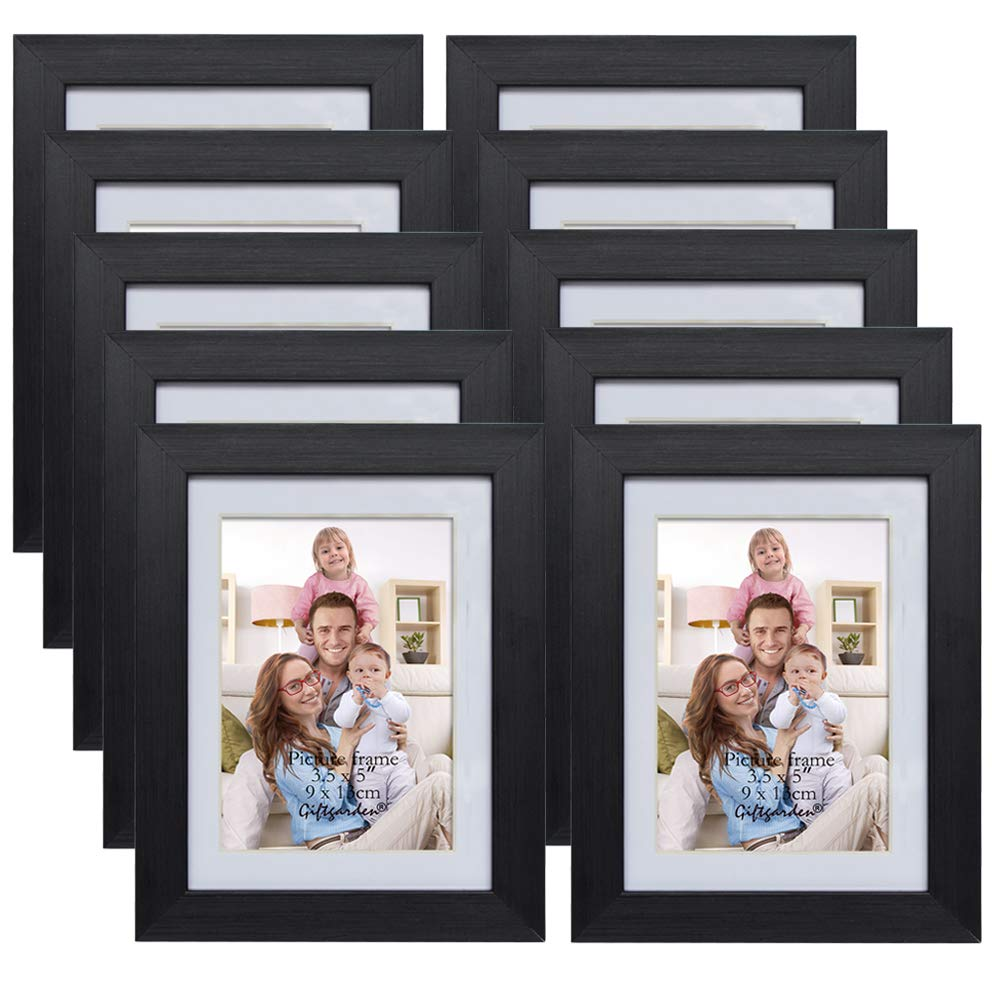 Giftgarden 3.5x5 Picture Frames with Mat for Wall Decor, Black, Set of 10 Pieces by Giftgarden