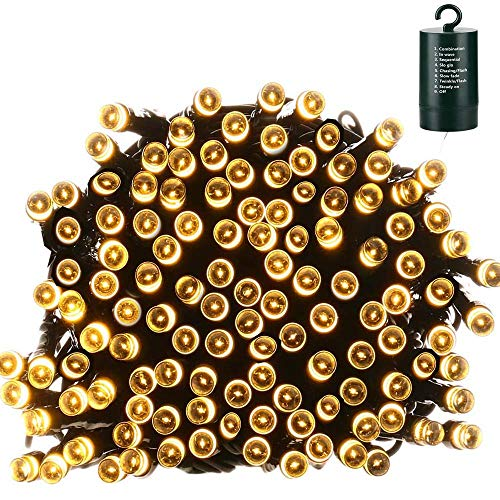 Lyhope Christmas Lights, 200 LED 72ft 8 Modes Battery Operated Waterproof Fairy Decorative String Lights for Outdoor & Indoor, Patio, Lawn, Landscape, Garden, Wedding, Holiday (Warm White)