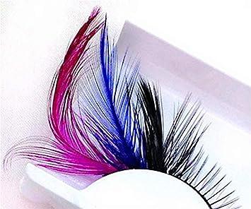 b2092604c36 Amazon.com : Dorisue Rainbow lashes Black Blue Purple Feather eyelashes  Costume halloween eyelashes show False Eyelash Feather lashes Feather  extensions for ...