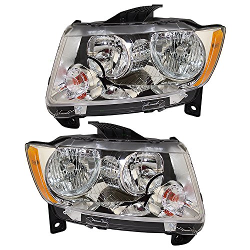 Pair Set Halogen Combination Headlights Headlamps Replacement fits 11-13 Jeep Grand Cherokee 55079379AF 55079378AF AutoAndArt