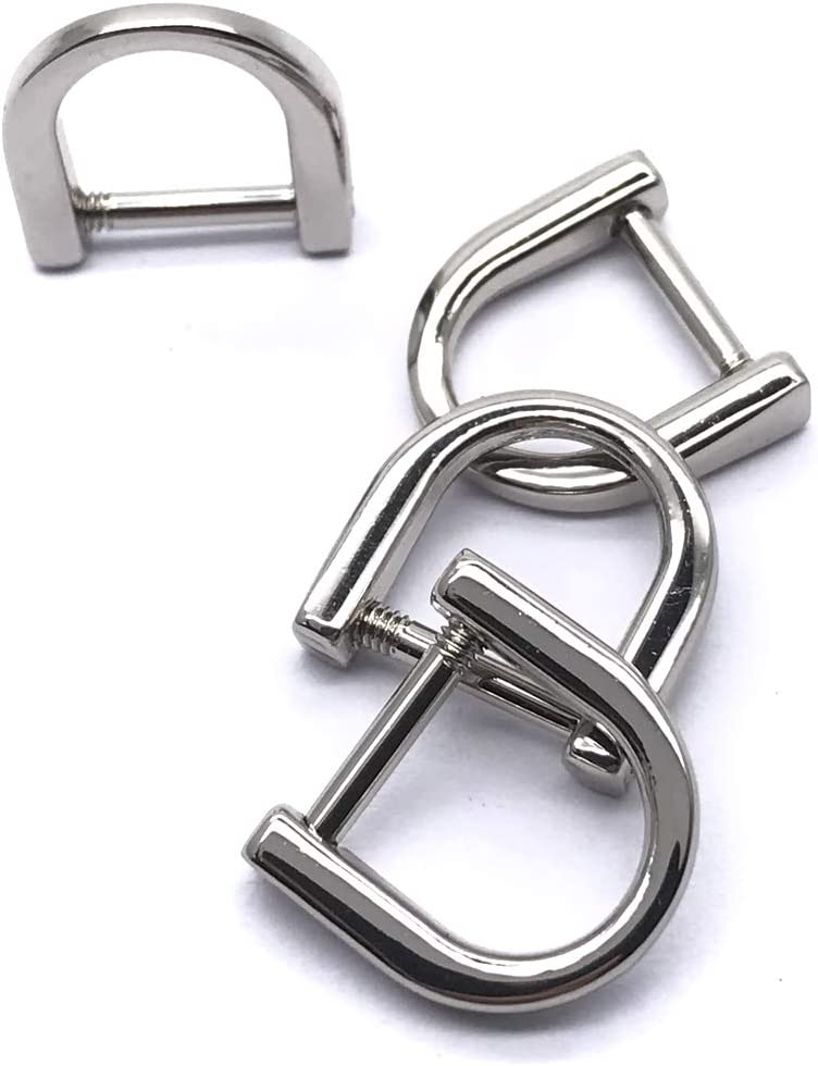 Screw-in Shackle D Ring for Buckle ZLYY 4pcs 15mm U Shape Horseshoe D-Rings Silver DIY Leather Craft Purse Keychain Accessories